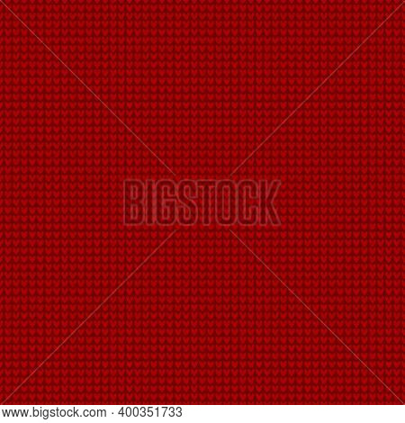 Seamless Knitting Pattern Is On The Red Background. Save With The Clipping Mask.