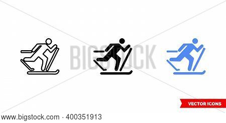 Map Symbol Cross-country Ski Trail Icon Of 3 Types Color, Black And White, Outline. Isolated Vector