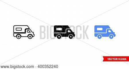 Map Symbol Rv Campground Icon Of 3 Types Color, Black And White, Outline. Isolated Vector Sign Symbo