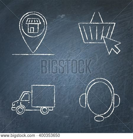 Ecommerce And Buying Online Icon Set On Chalkboard