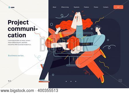Business Topics - Project Communication, Web Template. Flat Style Modern Outlined Vector Concept Ill
