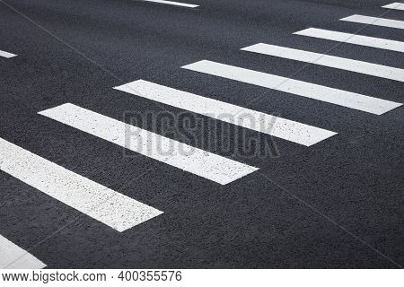Pedestrian Crossing, White Stripes On Black Asphalt, Road Markings Zebra Crossing, Place To Cross Th