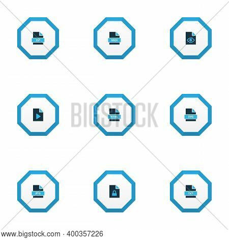 Document Icons Colored Set With File Svg, File Html, File Zip And Other Archive Elements. Isolated V