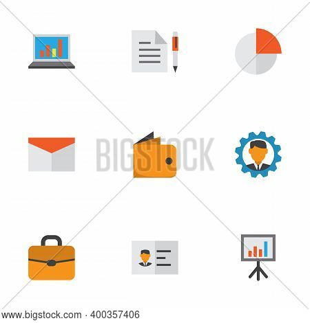 Trade Icons Flat Style Set With Mail, Statistics, Authentication And Other Suitcase Elements. Isolat