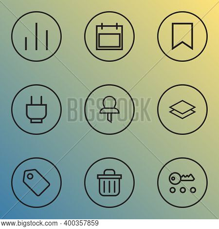 Interface Icons Line Style Set With Magnifier, Schedule, Storage And Other Ban Elements. Isolated Ve