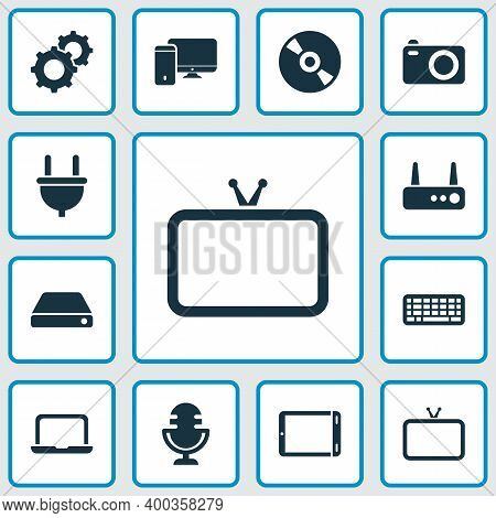 Electronics Icons Set With Laptop, Hard Drive, Router And Other Compact Disc Elements. Isolated Vect