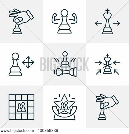 Chess Icons Line Style Set With Competition, Chess Players, Game And Other Beaten Pawn Elements. Iso