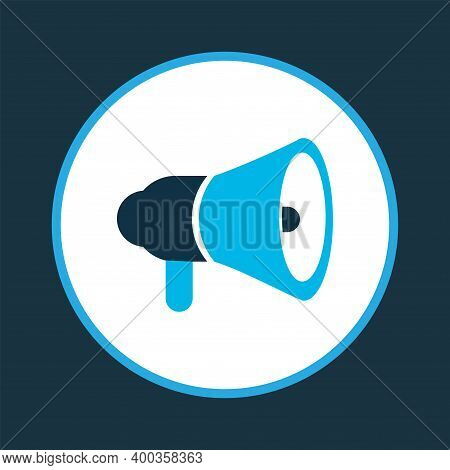 Horn Icon Colored Symbol. Premium Quality Isolated Megaphone Element In Trendy Style.