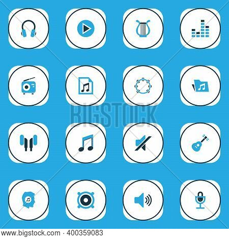 Multimedia Icons Colored Set With Megaphone, Mike, Sound And Other Headset Elements. Isolated Vector