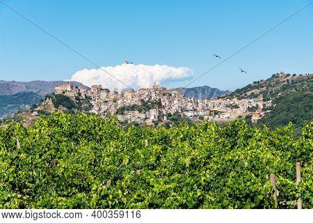 Panoramic View Of Castiglione Di Sicilia In A Sunny Summer Day, Italy