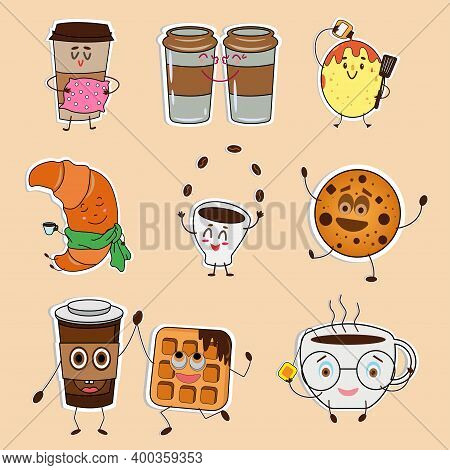 Stickers Funny Cups Of Coffee And Tea, Sweets: Waffle, Cookies, Croissant, Pancake. Funny Stickers O