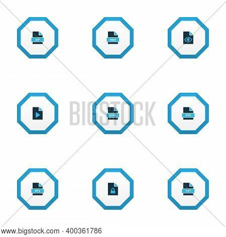 File Icons Colored Set With File Svg, File Html, File Zip And Other Archive Elements. Isolated Illus