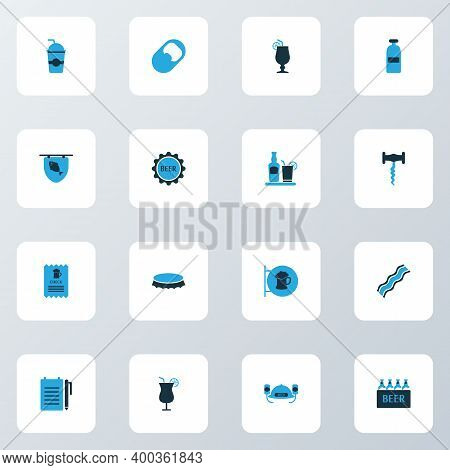 Drink Icons Colored Set With Tequila, Opener, Corkscrew And Other Case Of Beer Elements. Isolated Il