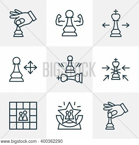 Hobby Icons Line Style Set With Competition, Chess Players, Game And Other Beaten Pawn Elements. Iso