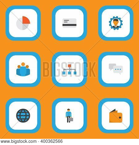 Trade Icons Flat Style Set With World, Manager, Team And Other Pie Bar Elements. Isolated Illustrati