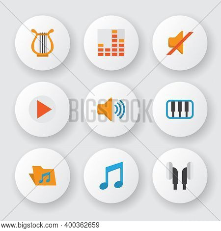 Multimedia Icons Flat Style Set With Musical, Philharmonic, Silent And Other Button Elements. Isolat