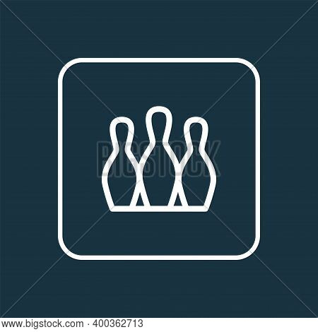 Bowling Icon Line Symbol. Premium Quality Isolated Skittles Element In Trendy Style.