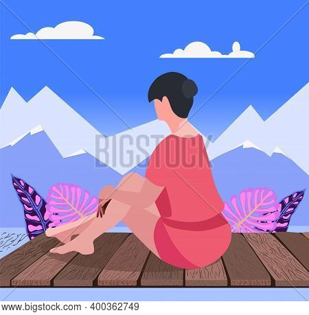 Beautiful Woman Sitting On Wood Floor.  Nature Seascape And A Young Woman Relaxing And Looking Forwa