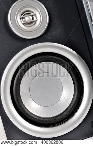 Powerful Speakers Of An Old Stereo, Gray Stereo Sound System
