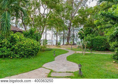 Path Leading To The Seashore On Koh Samui Island In Thailand, Tropical Vegetation
