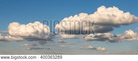Scenic Beautiful Wide Fantasy Dream Cloudscape Panoramic Landscape Of Beautiful Evening Or Morning B