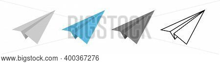 Vector Paper Airplane Icons Set. Origami Paper Airplane. Vector Illustration Isolated On White Backg