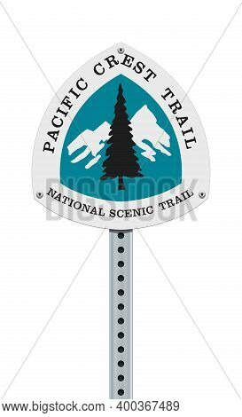 Vector Illustration Of The Pacific Crest Trail Road Sign On Post