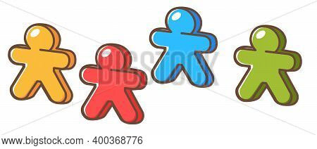 Board Game Figurines In Shape Of Humans Vector