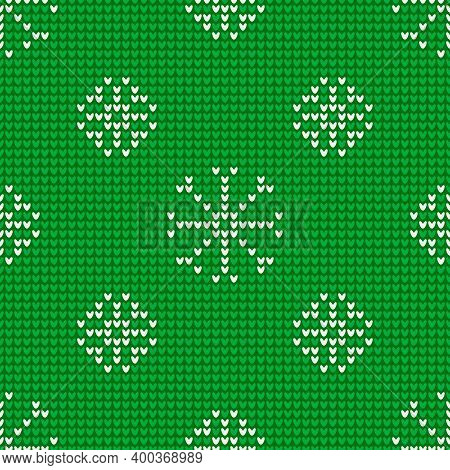 Seamless Knitting Pattern With Snowflakes Is On The Green Background. Save With The Clipping Mask.