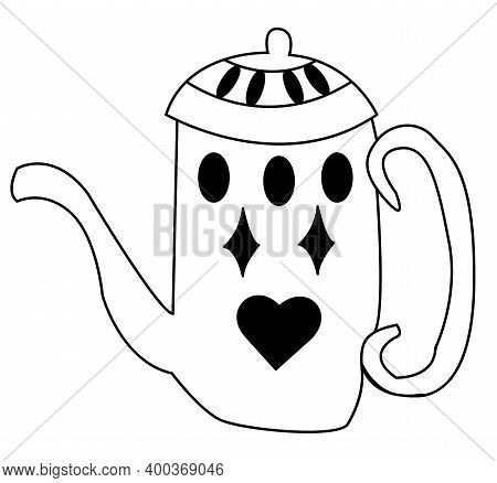 Teapot For Tea With A Lid. Vector Doodle Illustration. The Teapot Is Decorated With A Simple Pattern