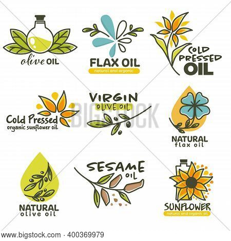 Cold Pressed Oil, Sunflower And Flax Seed Vector