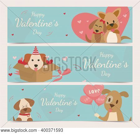 Happy Valentine's Day With Cute Dogs Vector. Dog Carries Heart Balloon To Friends. The Dog Is Shy An