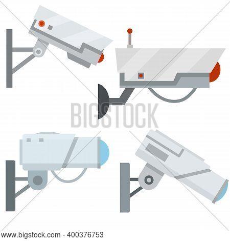 Video Surveillance Camera. Cartoon Flat Illustration. Fixation In The Wall.