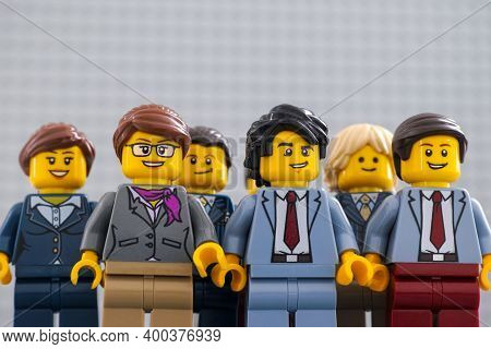 Tambov, Russian Federation - December 19, 2020 Lego Businesspeople Minifigures Standing And Looking