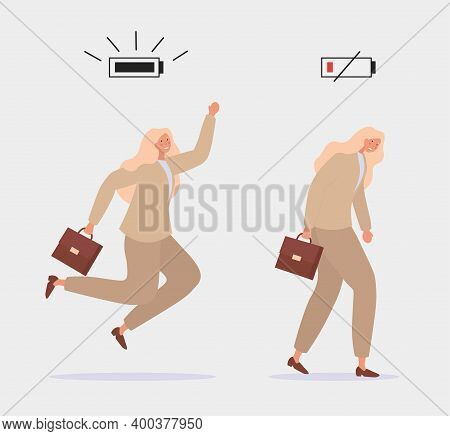 Energetic And Tired Women Characters Office Workers And Battery Indicator Showing Their Vital Energy
