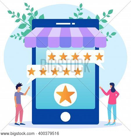 Flat Style Vector Illustration. Customers Give Five Star Feedback. Clients Choose Satisfaction Ratin