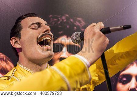 AMSTERDAM, NETHERLANDS - APRIL 25, 2017: Freddie Mercury wax statue in Madame Tussauds museum on April 25, 2017 in Amsterdam Netherlands.