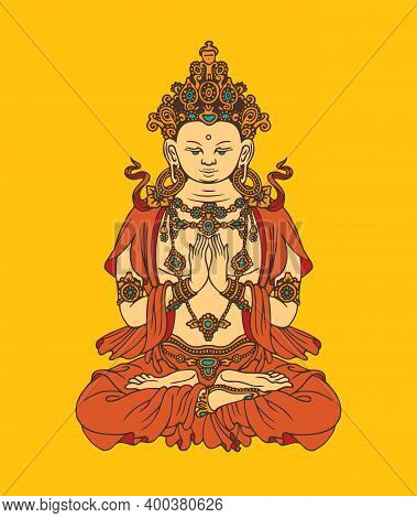 Banner With Hand-drawn Buddha Shakyamuni On A Yellow Background. Decorative Vector Illustration Of S