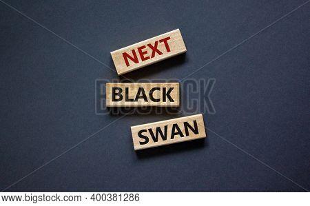 Next Black Swan Symbol. Wooden Blocks With Words 'next Black Swan'. Beautiful Grey Background, Copy