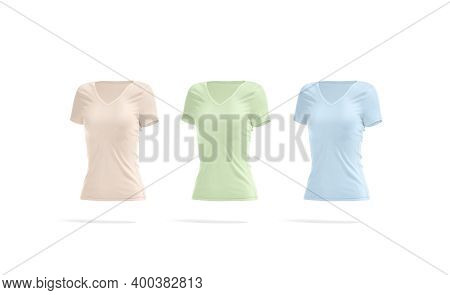 Blank Colored Women Slimfit T-shirt Mockup, Side View, 3d Rendering. Empty Pink, Green And Blue Fit