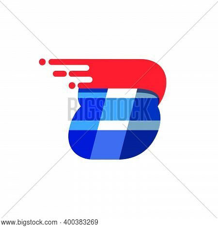 Number Eight Fast Speed Motion Logo. Oblique Font With Red Line For Sportswear Labels, Delivery Post