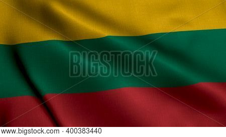 Lithuania Satin Flag. Waving Fabric Texture Of The Flag Of Lithuania, Real Texture Waving Flag Of Th