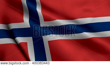 Norway Satin Flag. Waving Fabric Texture Of The Flag Of Norway, Real Texture Waving Flag Of The Norg