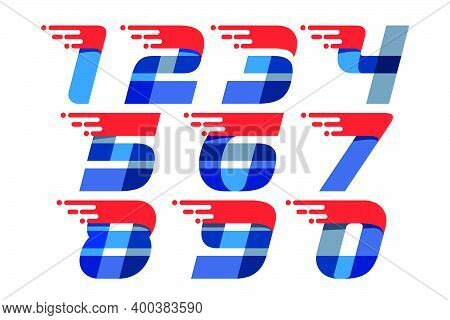 Set Of Fast Speed Motion Numbers. Oblique Font With Red Line For Sportswear Logo, Delivery Poster, R