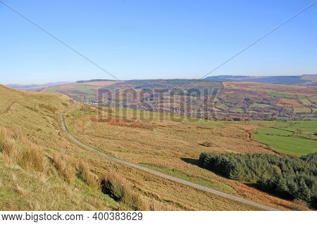 Valley In The Brecon Beacons In Wales