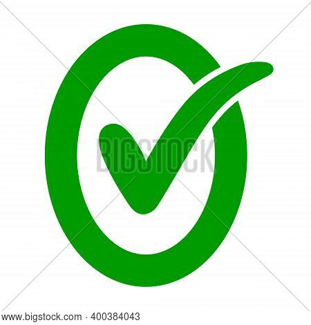 Approved Ok Icon Oval Letter O With Green Check Mark Ok, Vector Check Mark In Letter O, Consent And
