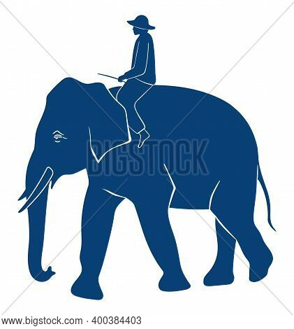 Elephant With Rider Silhouette On White Background. Side View Of A Dark Blue Elephant With Man Vecto