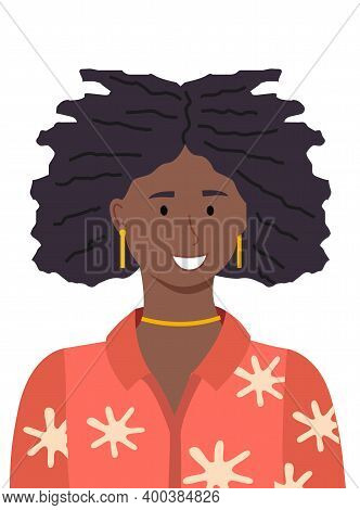 Portrait Of Beauty African Young Woman. Illustration Of Smiling Girl In A Red Blouse Isolated On Whi