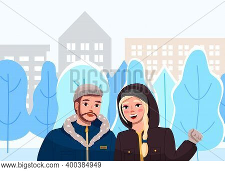 Girl With Man On Winter City Street Landscape. Cute Couple Vector Illustration In Flat Style Walk In
