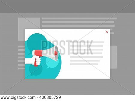 Necessary Announcement Pop-up Window Template For Website - Hand With Loudspeaker On Abstract Backgr